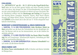 ARTVENT 2014 Orgelfabrik Durlach Programm